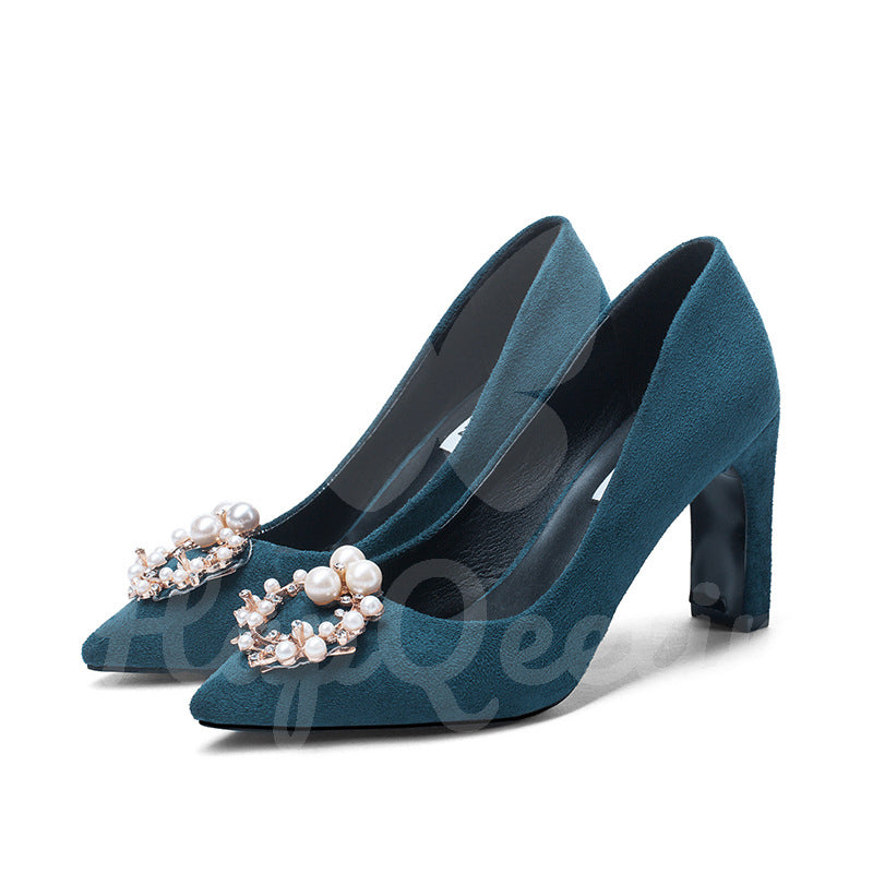 Women Suede Surface 6-8cm Heels Pumps with Artificial Metal Pearl Decoration