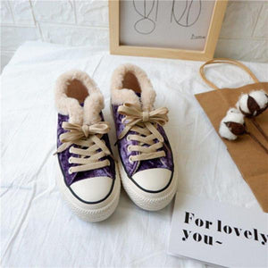 Warm Suede Low/High Top Flat Heel Faux Fur Purfle Shoes 5 Colors