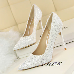 Hapqeelin Women High Heel Golden Color Wedding Party Shoes Pumps