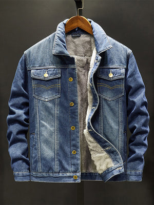 Denim Jean Jackets for Mens with Faux Fur inside Winter