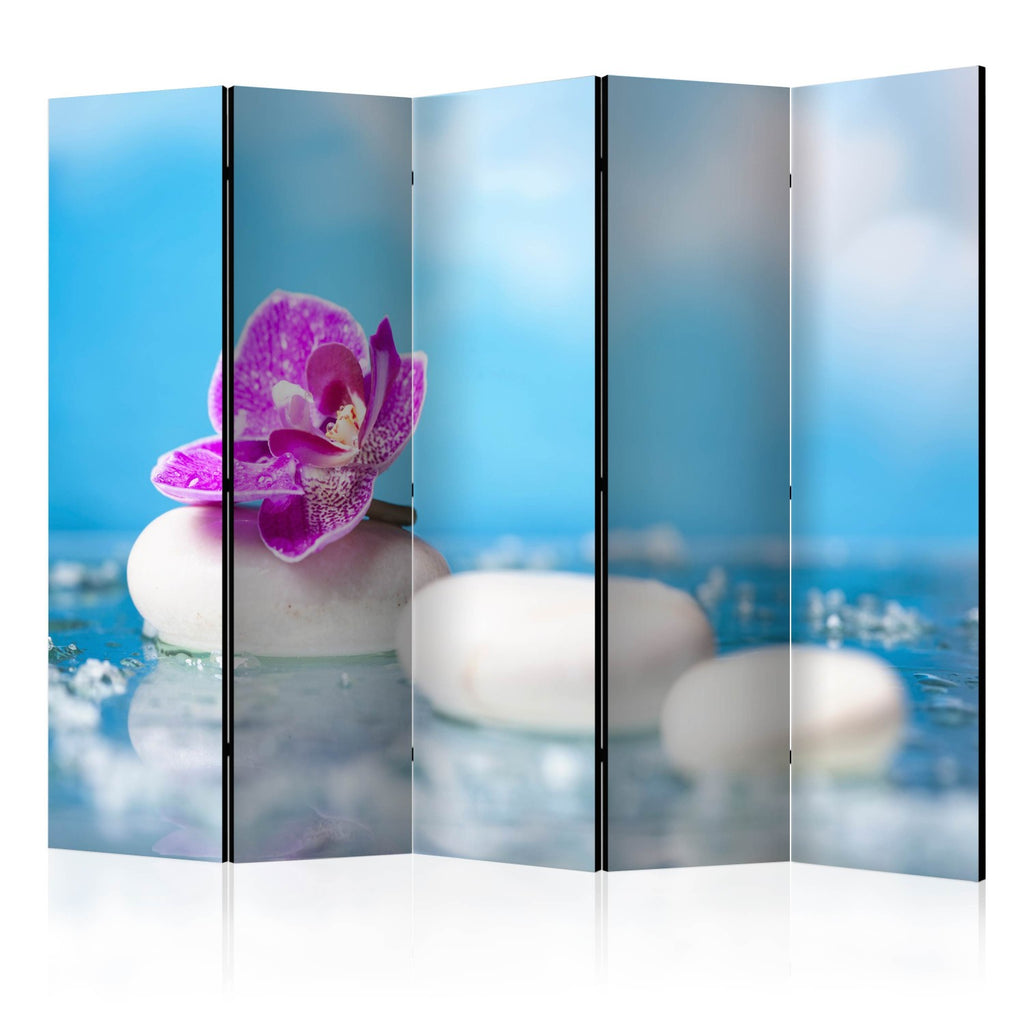 Paravento - Pink Orchid and white Zen Stones II [Room Dividers]