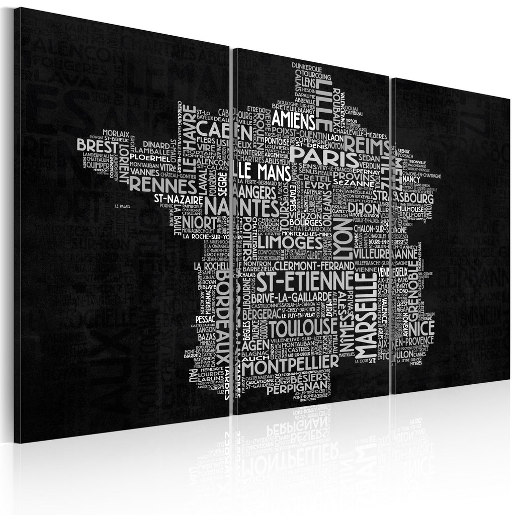 Quadro - Text map of France on the black background - triptych
