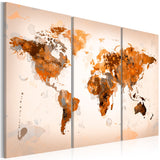 Quadro - Map of the World - Desert storm - triptych
