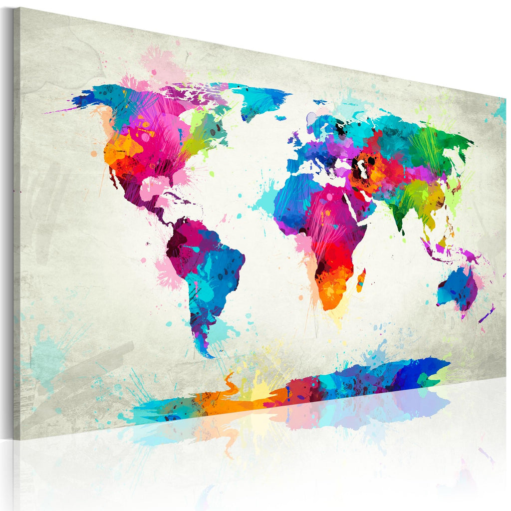 Quadro - Map of the world - an explosion of colors