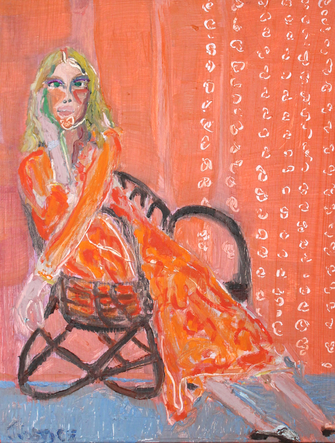 Girl in Modern Chair on Wood Panel