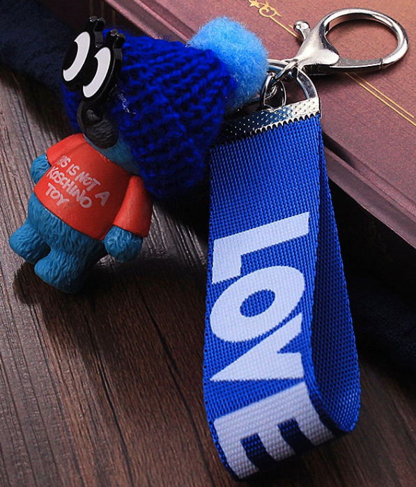 Blue Teddy Bear Keychain