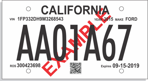 Printable Temporary License Plate Blanks - California