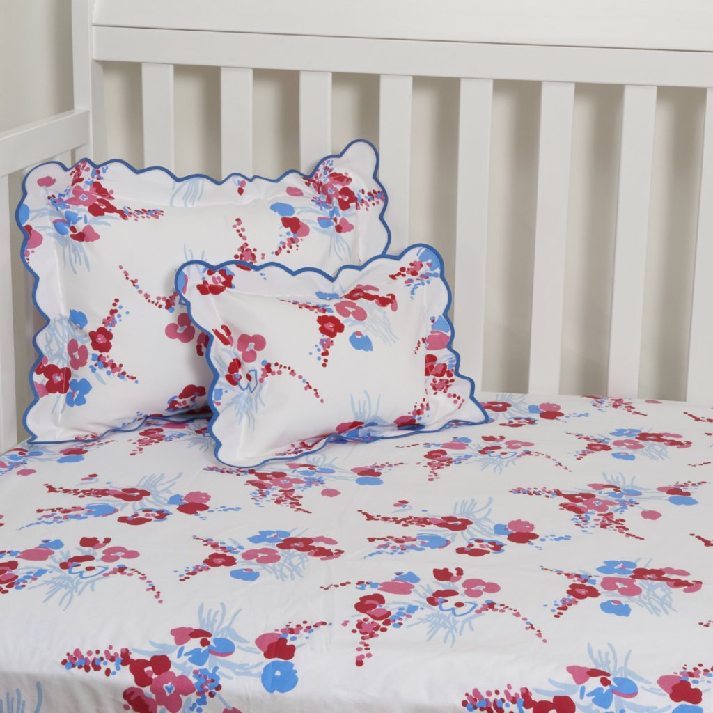 Demoiselles Red/Blue Fitted Crib Sheet