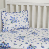 Violettes Blue Fitted Crib Sheet