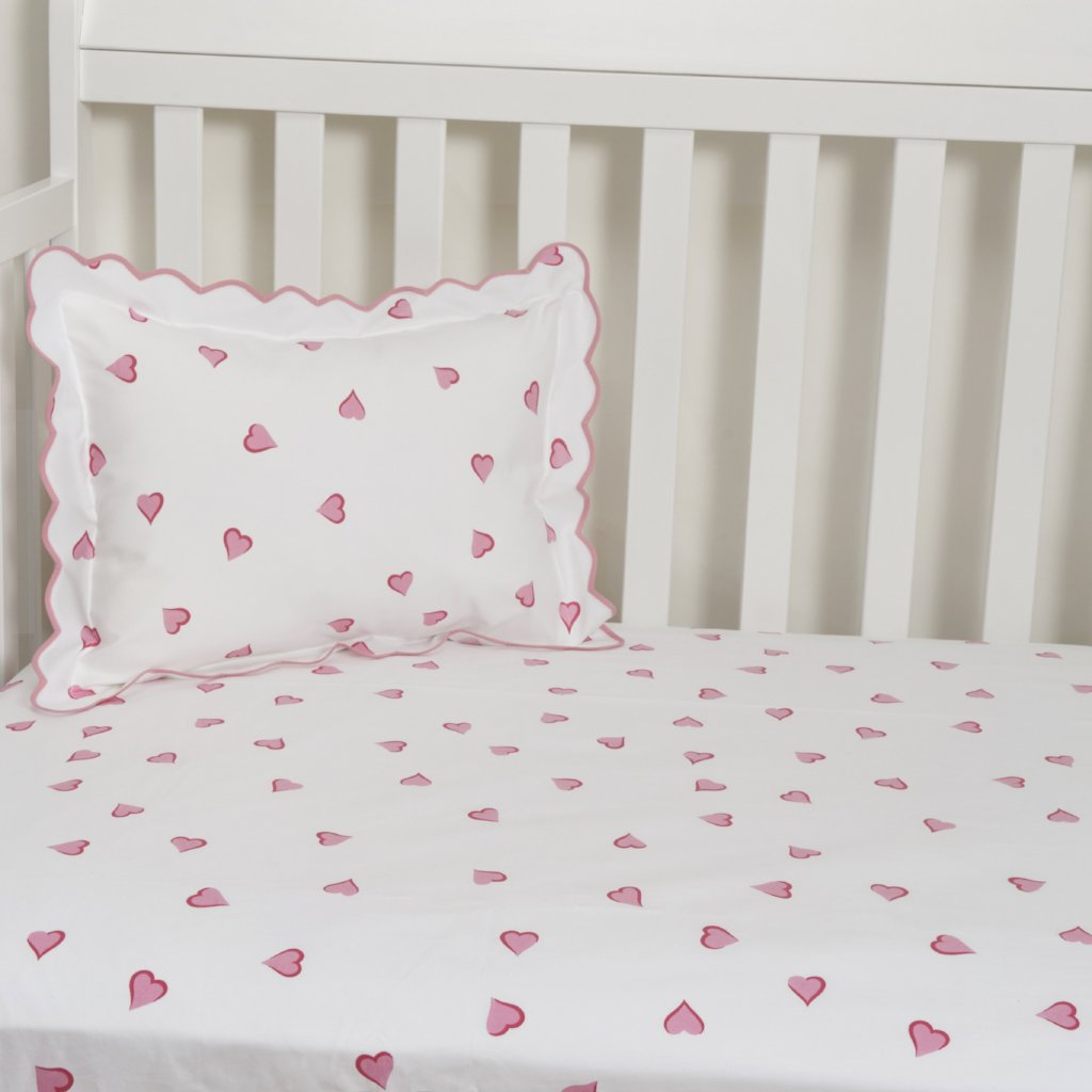 Coeurs Pink Fitted Crib Sheet D Porthault