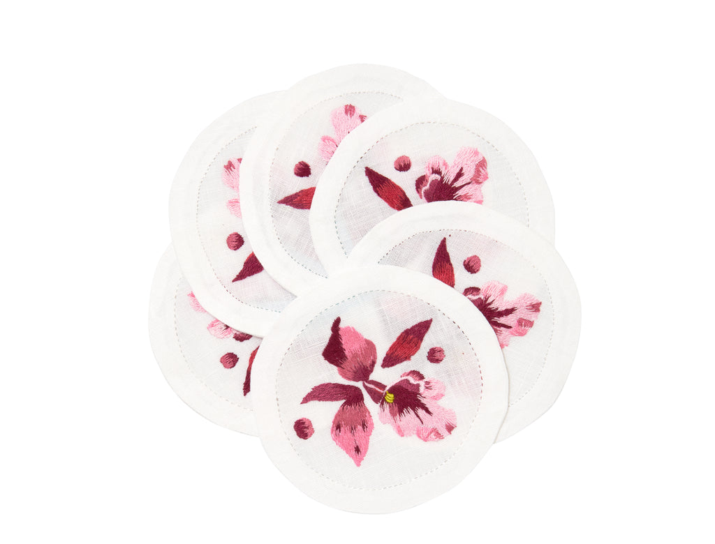 Orchidée Embroidered Coasters