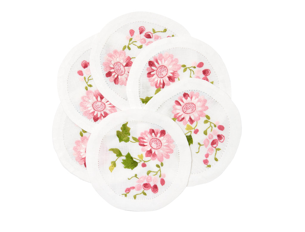 Mers de Chine Pink/Green Embroidered Coasters