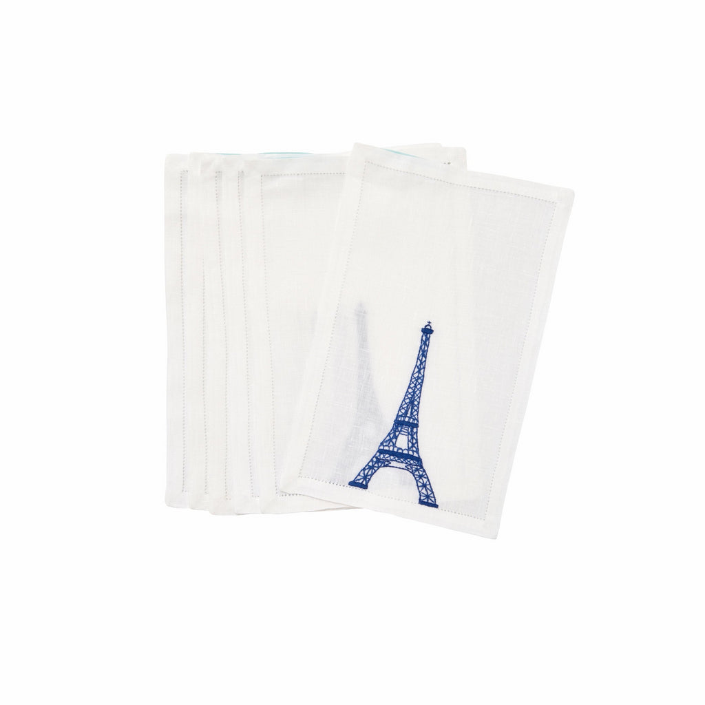Eiffel Tower Royal Blue Cocktail Napkins