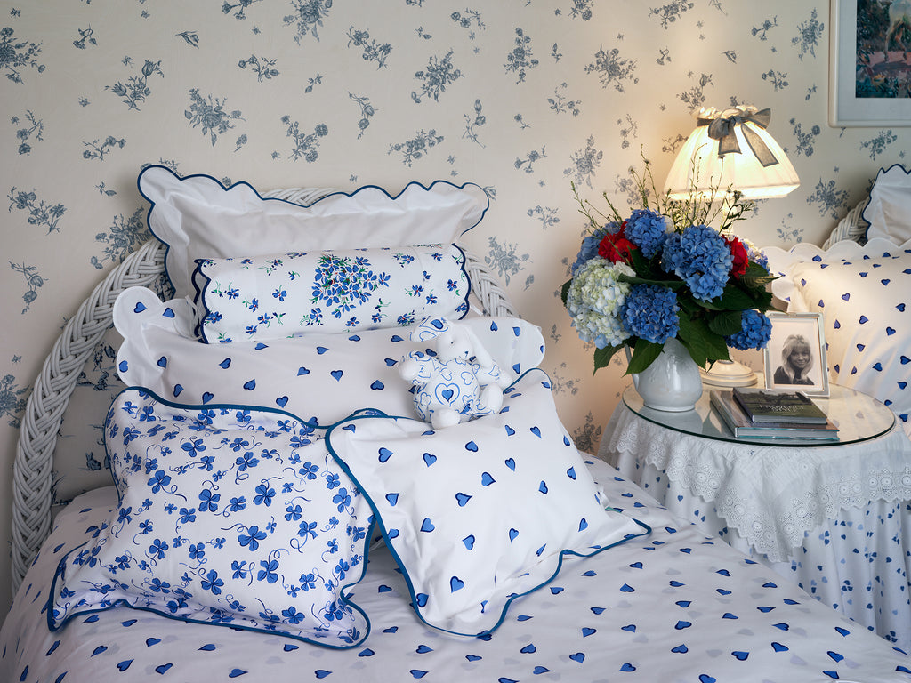 Coeurs Blue Bed Linens