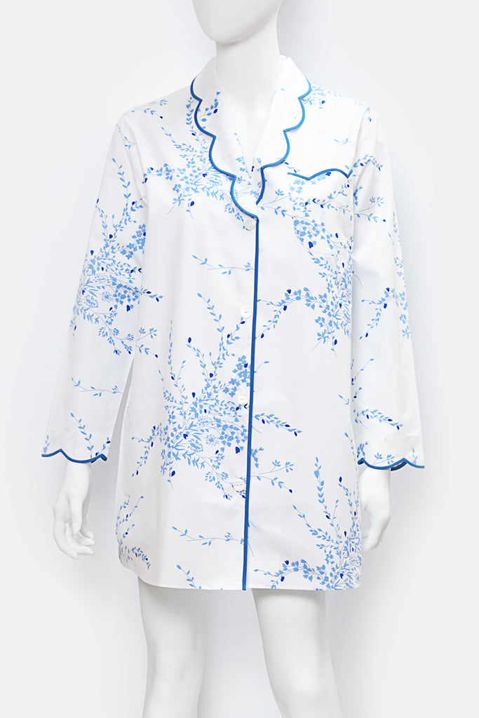 Nathalie Long Sleeve Nightshirt- Jeté de Fleurs Blue