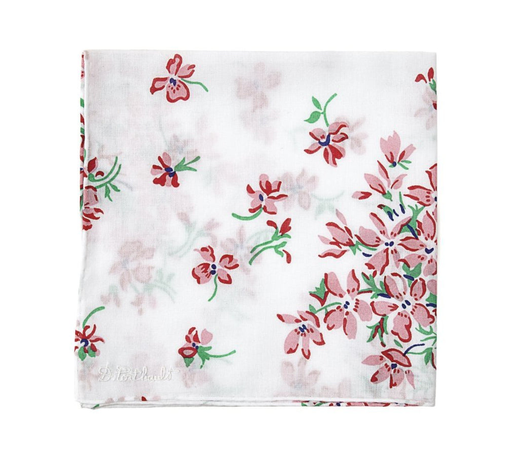 Printed Violettes Pink Handkerchief