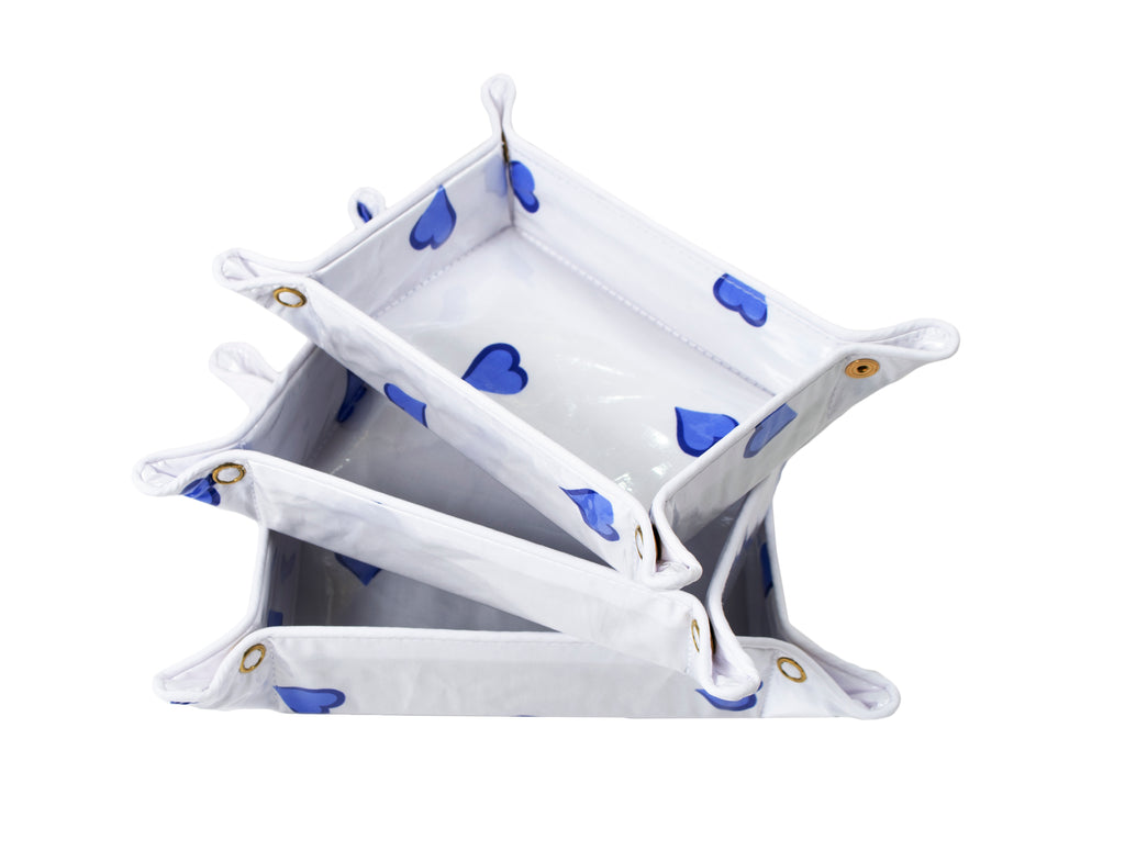 Coeurs blue travel trays