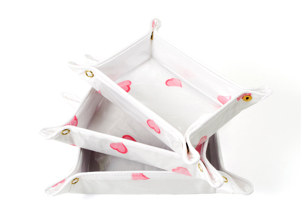 Coeurs pink travel trays
