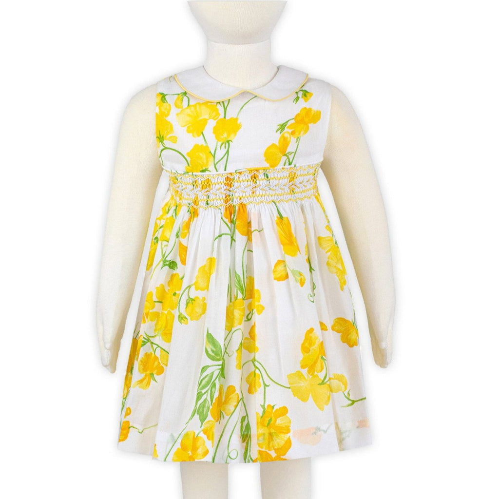 Pois de Senteur Yellow Heloise Smocked Dress