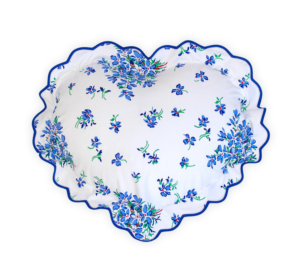 Violettes Blue Heart-Shaped Sham