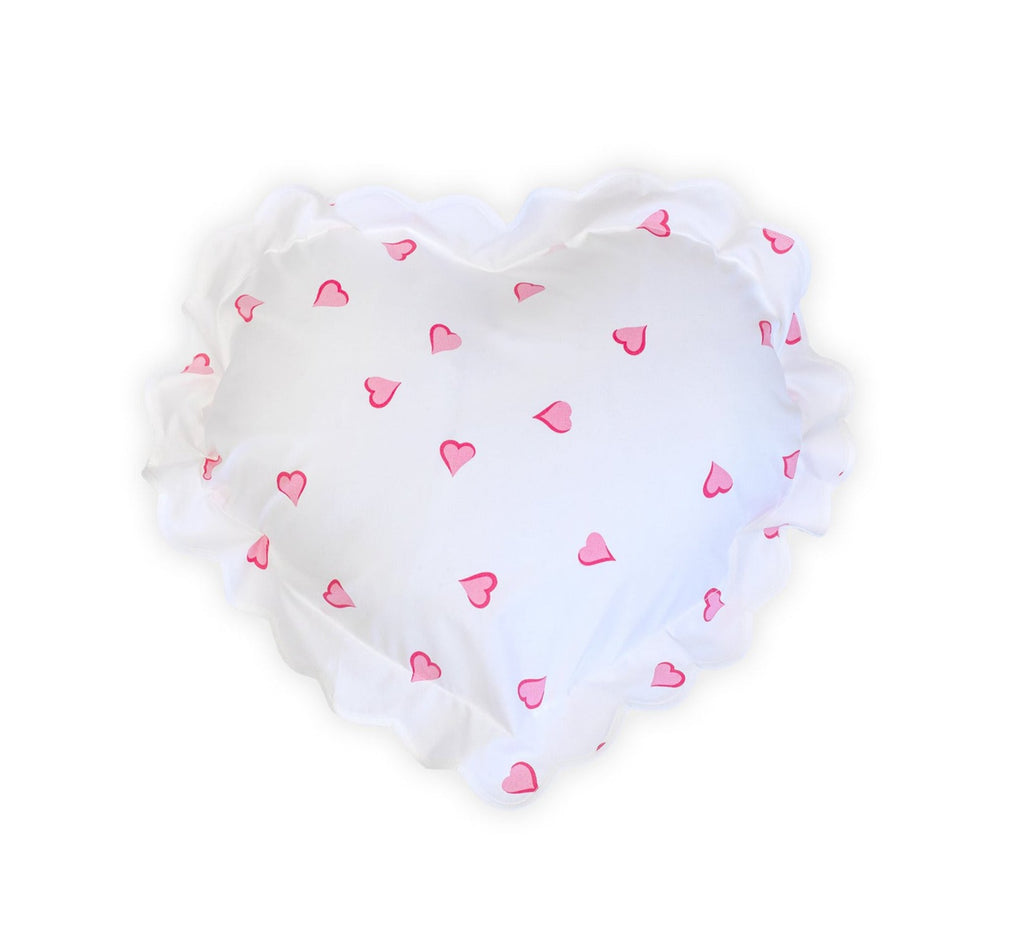 Coeurs pink Heart-Shaped Sham White Scallop