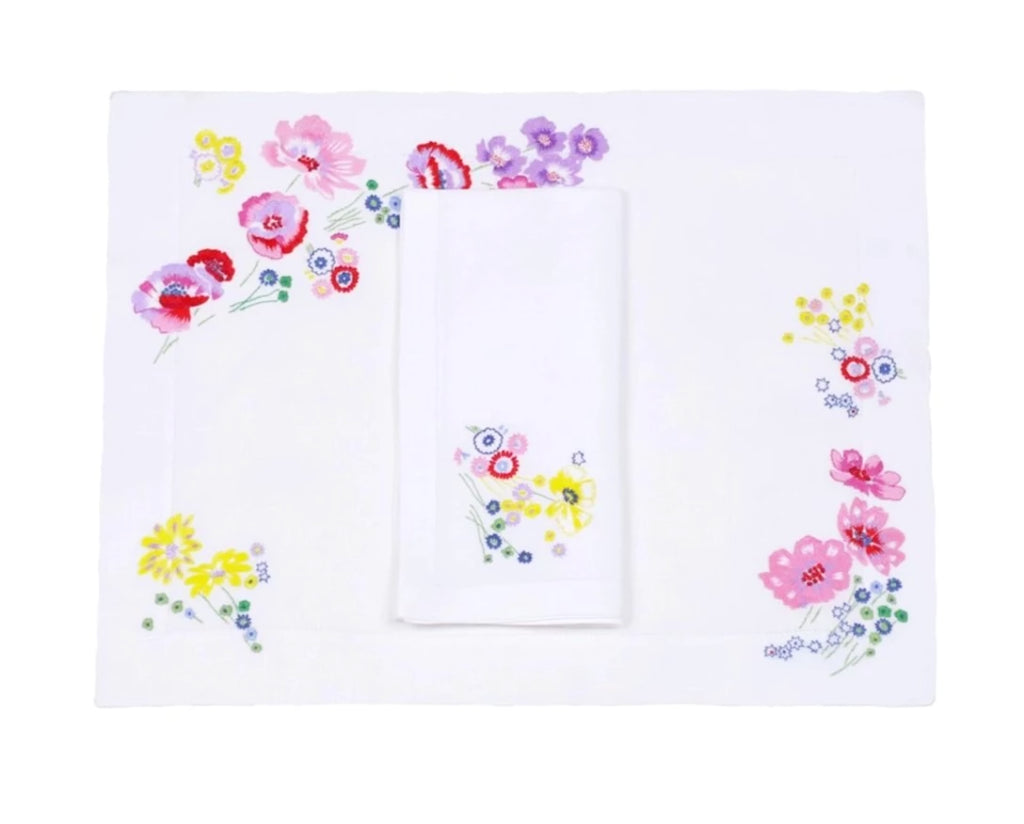 Fleurs d'Avril Placemat/Napkin Set