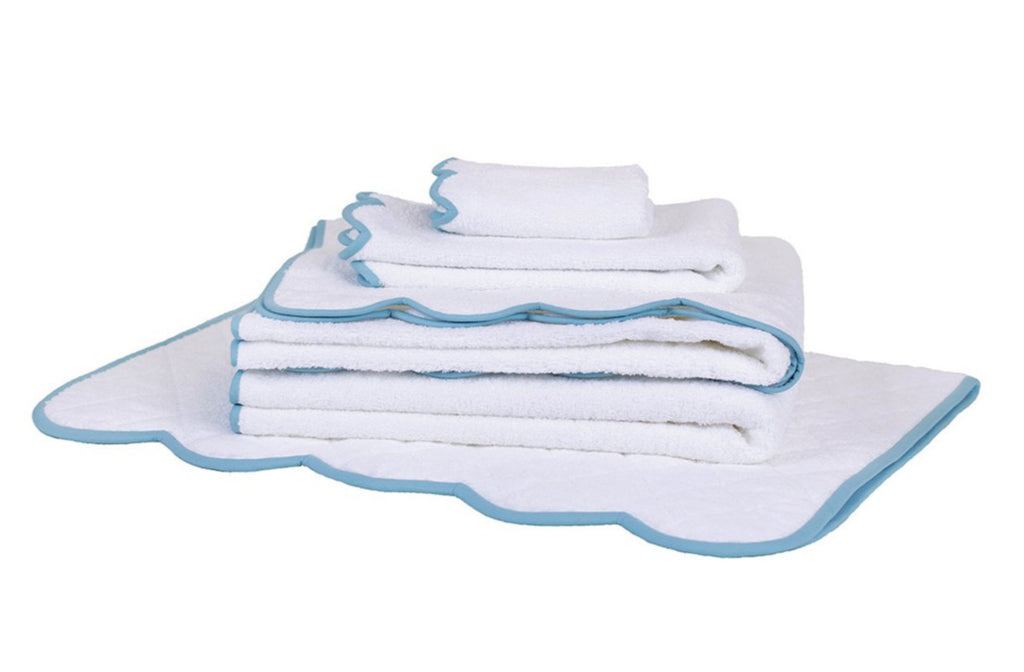 Solid White/DP Blue Scalloped Towels