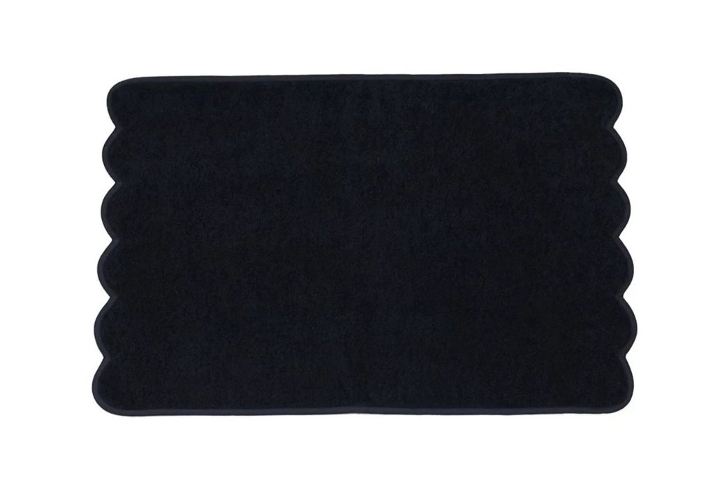 Solid Black/Black Scalloped Towels