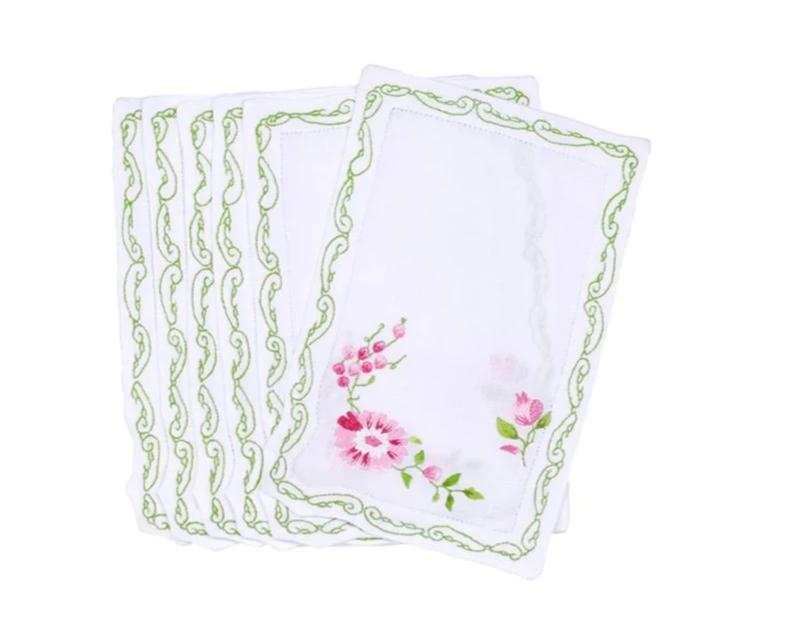 Mers de Chine Pink/Green Cocktail Napkins