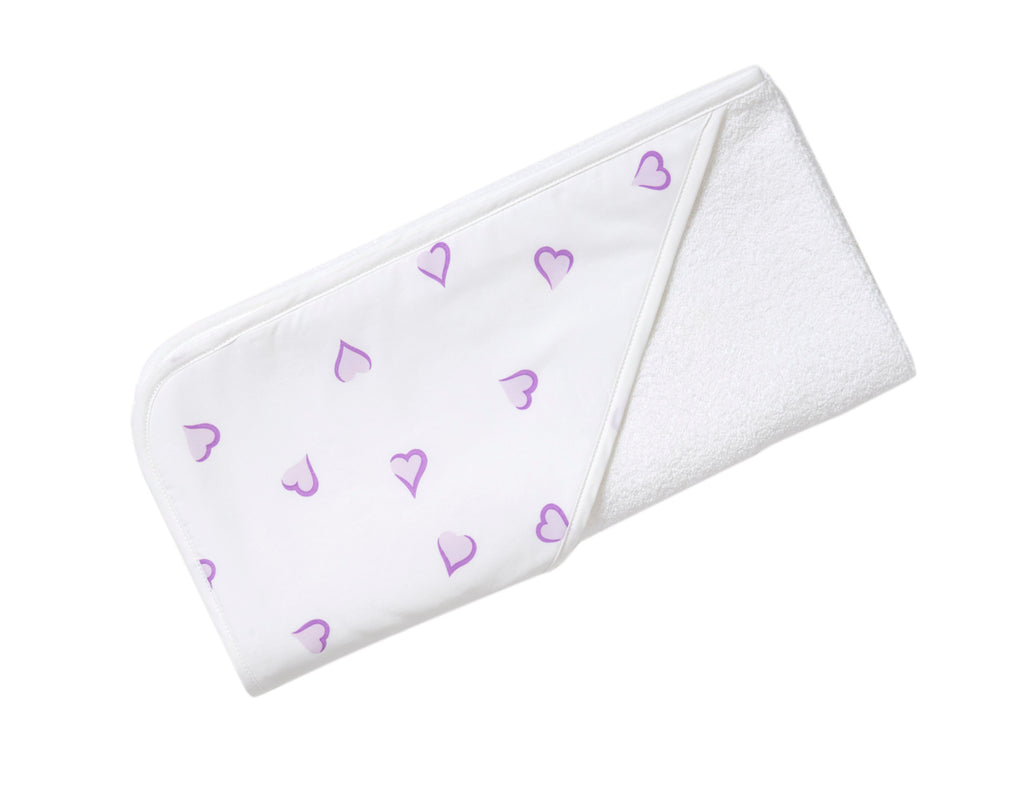 Lavender Heart Hooded Towel