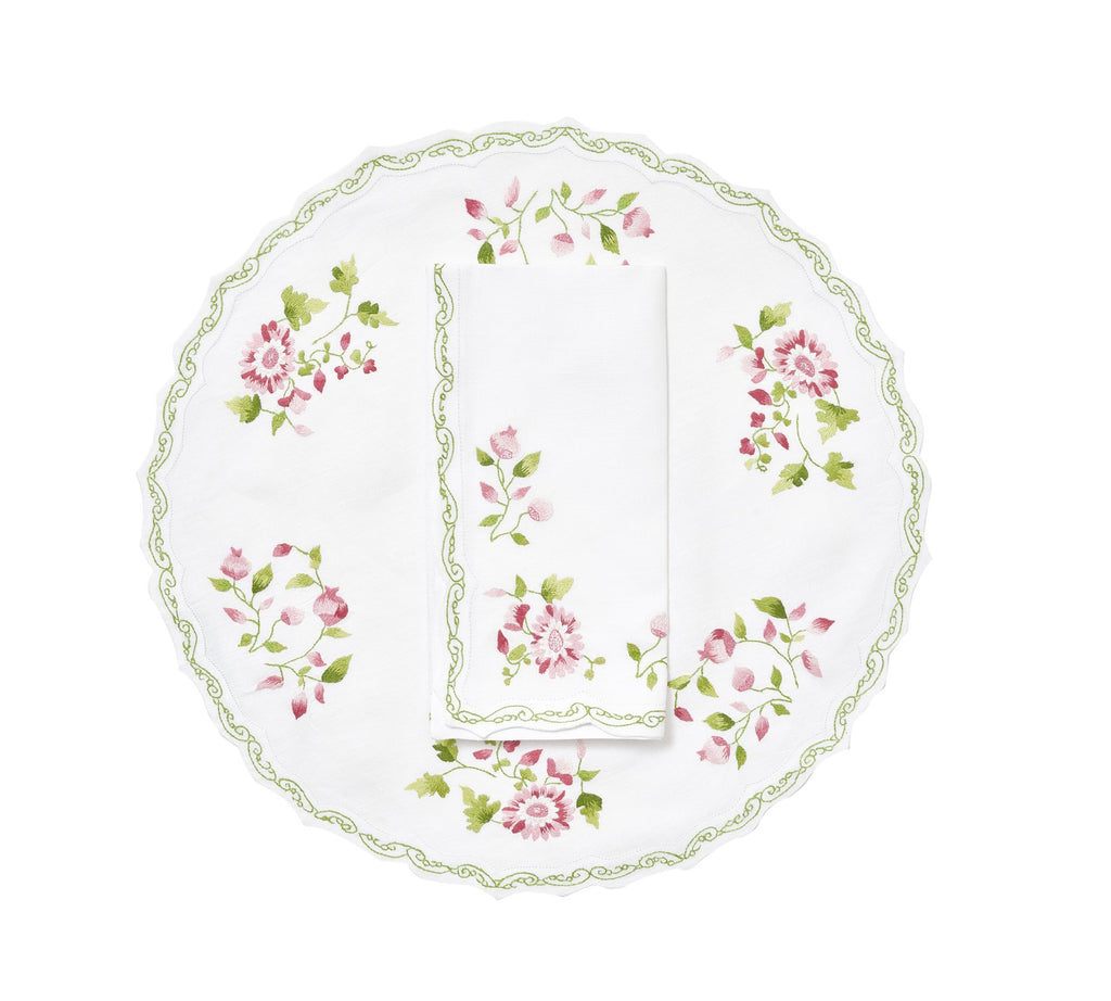 Mers de Chine Pink/Green Placemat/Napkin Set