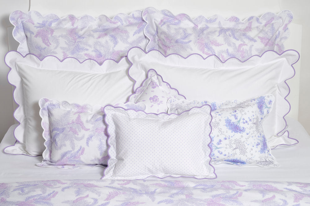 White with lilac scallop