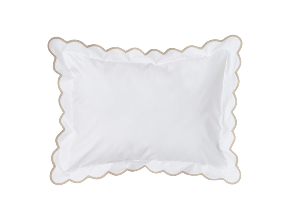 White with sand scalloped bed linens