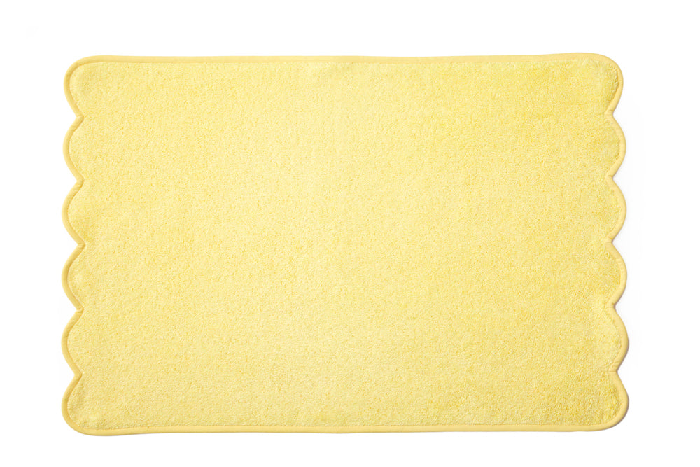 Solid Yellow Scalloped Towels