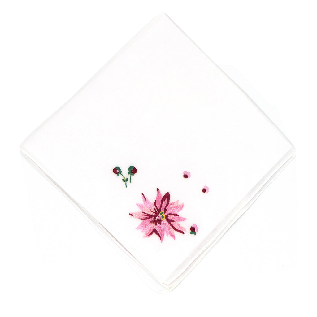 Dahlia Embroidered Handkerchief