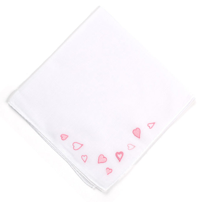 Embroidered Pink Hearts Handkerchief