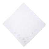 Embroidered White Hearts Handkerchief