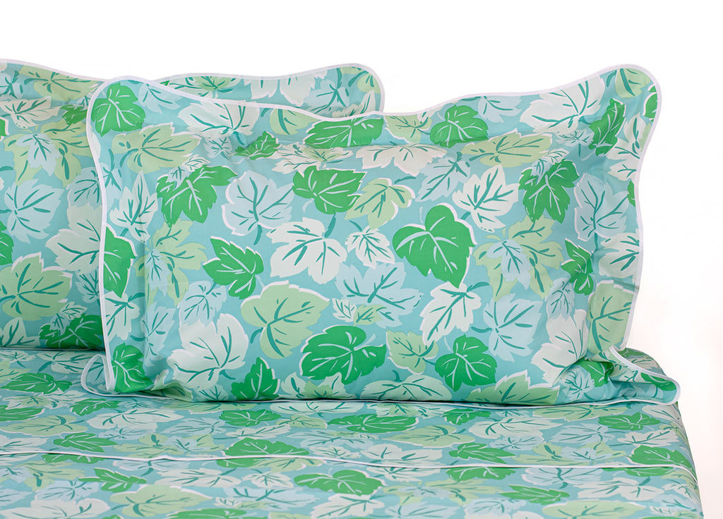 Feuilles d'Erable Blue/Green Bed Linens