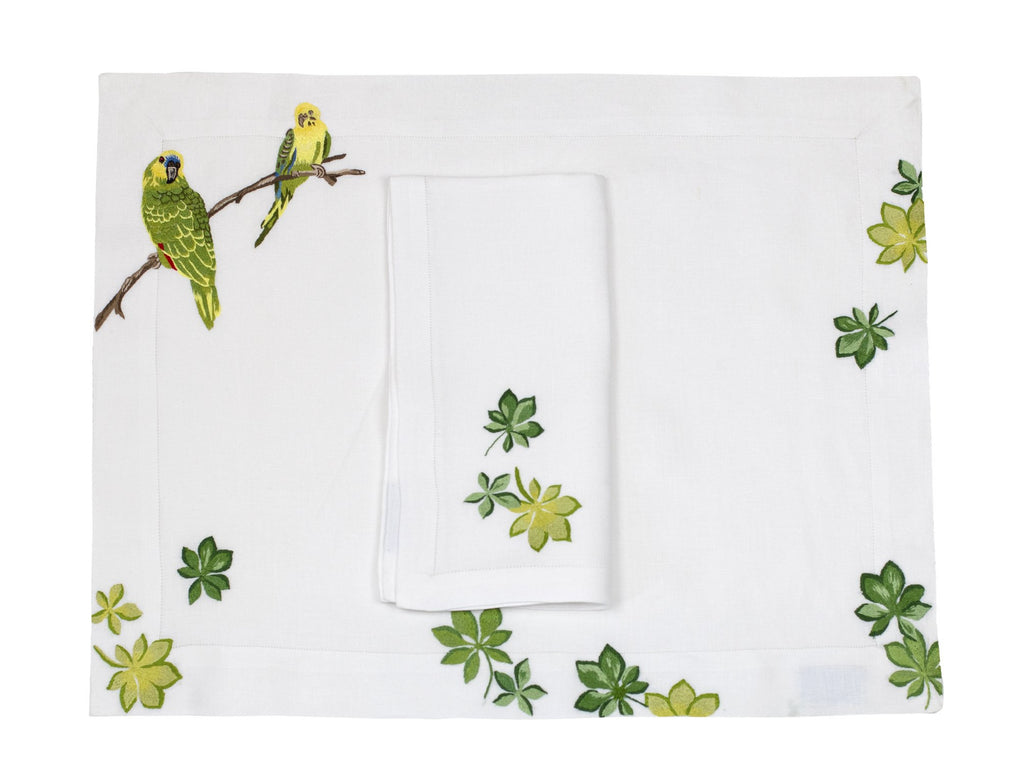 Jungle Bird Perruches Placemat/Napkin Set