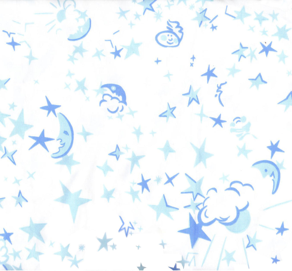 Moons & Stars Blue Fitted Crib Sheet