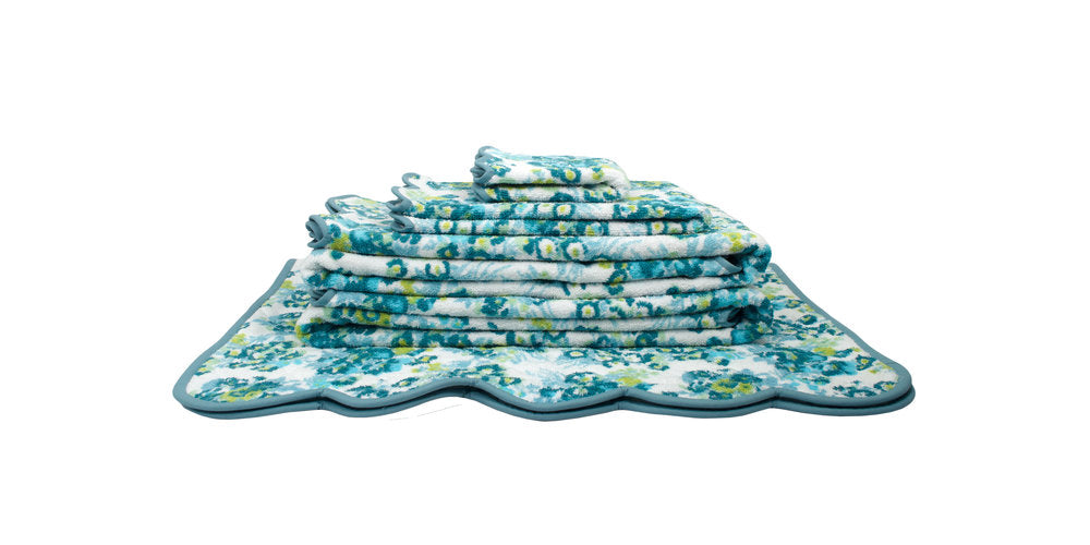 New York Mille Fleurs Blue/Green Towels