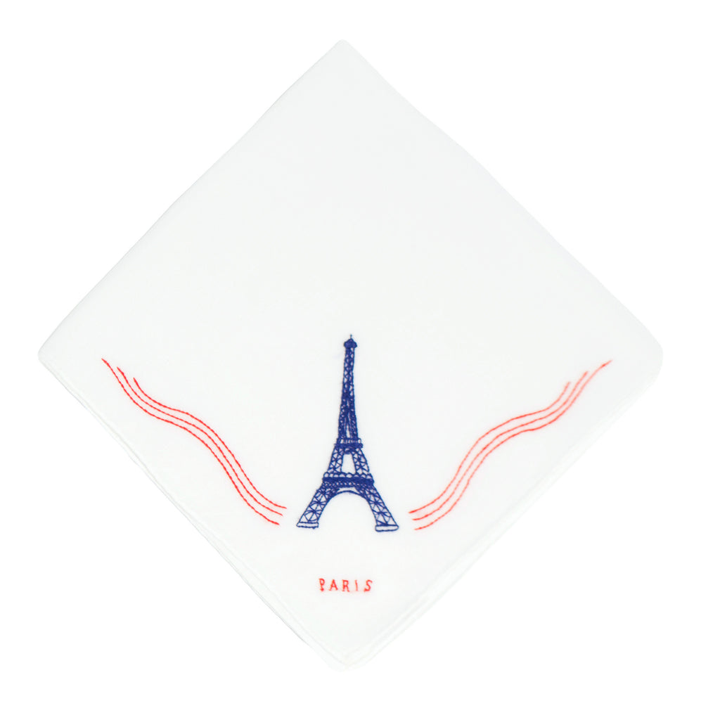 Eiffel Tower Dark Blue Embroidered Handkerchief