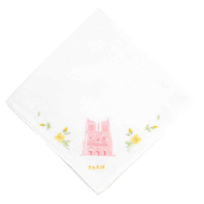 Notre Dame Embroidered Handkerchief