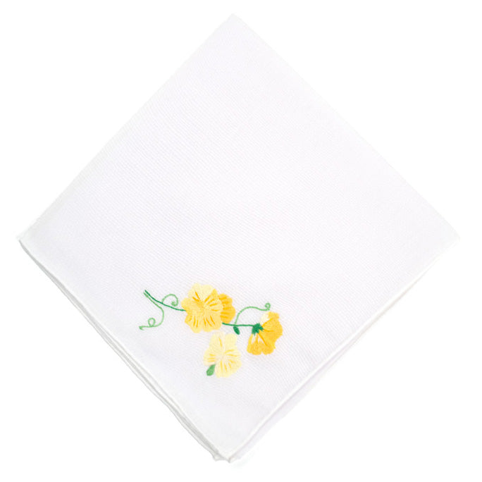 Pois de Senteur yellow Embroidered Handkerchief