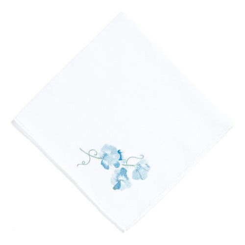 Pois de Senteur blue Embroidered Handkerchief