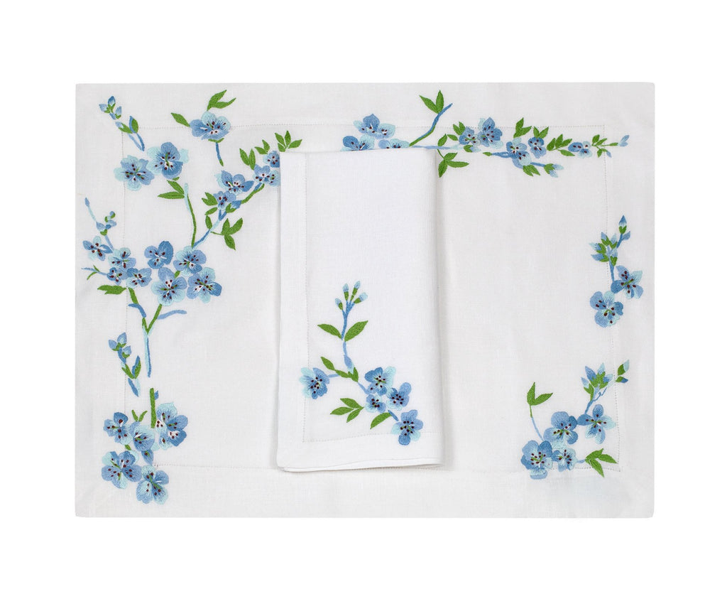 Fleurs de Pecher Blue Placemat/Napkin Set