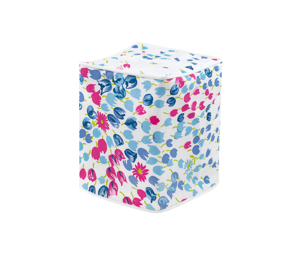 Bouquet Eclate Blue Tissue Box Cover