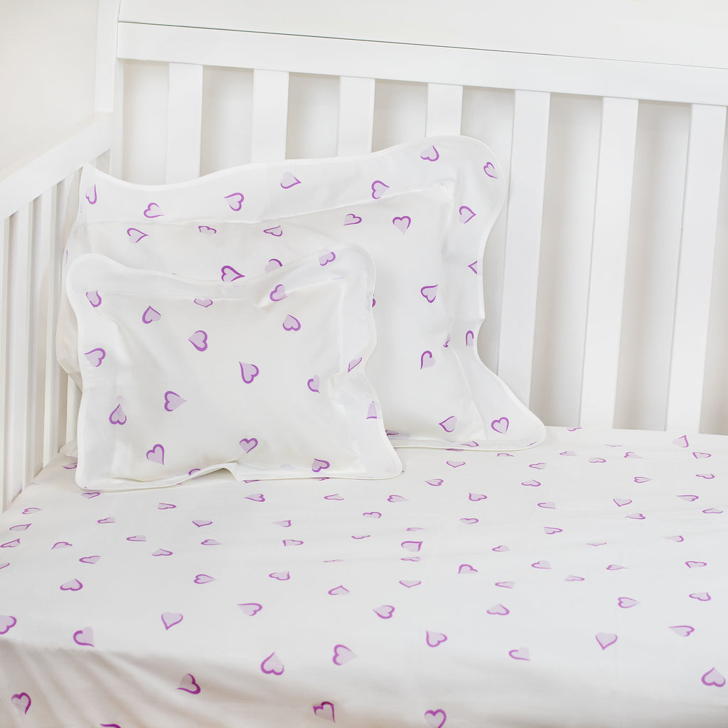 Coeurs Lavender Fitted Crib Sheet