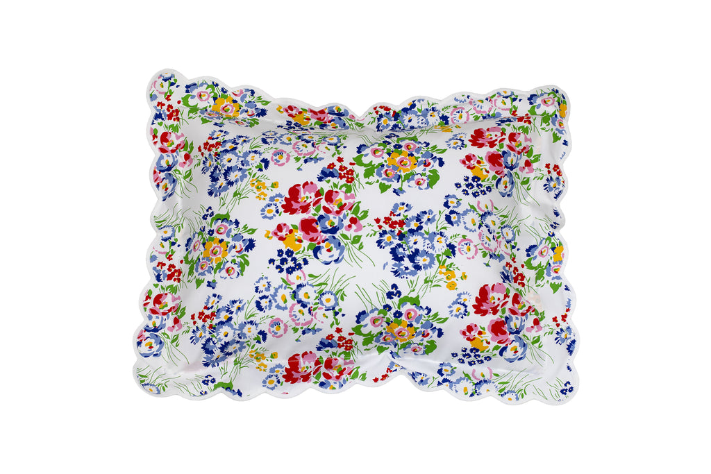 New York Mille Fleurs White Scallop Bed Linens