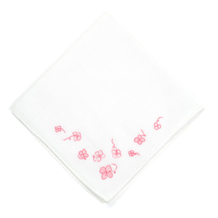 Embroidered Trefles Pink Handkerchief